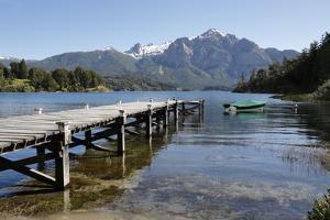 Pier and Andes on Lago Perito Moreno, Llao Llao, near Bariloche, Nahuel Huapi National Park, Lake D by Stuart Black