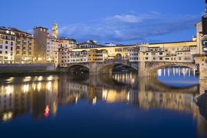 Ponte Vecchio and River Arno at Dusk, Florence, UNESCO World Heritage Site, Tuscany, Italy, Europe by Stuart Black