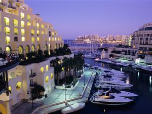 Portomaso Marina at Dusk with Hilton Hotel, Paceville, St. Julian`S, Malta, Mediterranean, Europe by Stuart Black