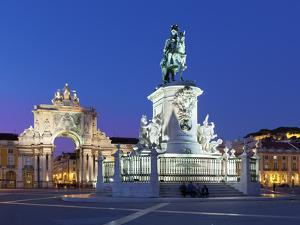 Praca Do Comercio with Equestrian Statue of Dom Jose and Arco Da Rua Augusta, Lisbon, Portugal by Stuart Black