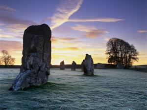 Prehistoric Stone Circle in Frost, Avebury, UNESCO World Heritage Site, Wiltshire, England, UK by Stuart Black