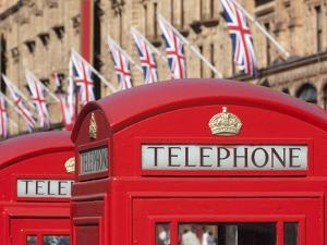 Red Telephone Boxes Opposite Harrod's, Knightsbridge, London, England, United Kingdom, Europe by Stuart Black