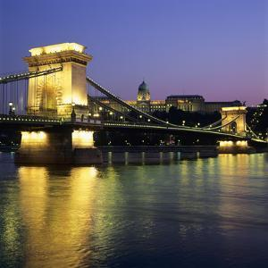 Royal Palace (Budavari Palota) (Buda Castle) and Chain Bridge at Dusk, UNESCO World Heritage Site, by Stuart Black
