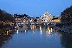 St. Peter's Basilica, the River Tiber and Ponte Sant'Angelo at Night, Rome, Lazio, Italy by Stuart Black