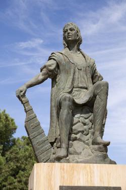 Statue of discoverer Christopher Columbus, La Rabida monastery, La Rabida, near Huelva, Costa de la by Stuart Black