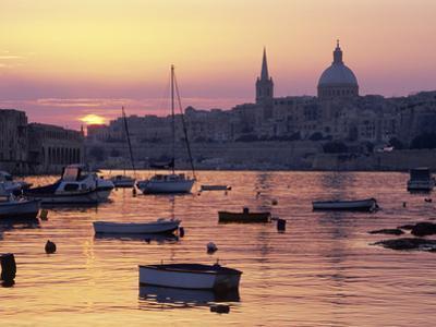 Sunrise over Msida Creek to Valletta with Dome of Carmelite Church, Valletta, Malta, Mediterranean,