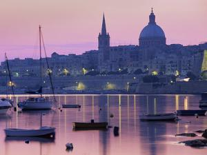 Sunrise over Msida Creek to Valletta with Dome of Carmelite Church, Valletta, Malta, Mediterranean, by Stuart Black