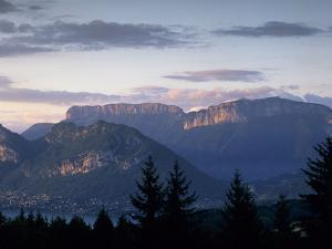 Sunset over Mountains Above Lake Annecy, Lake Annecy, Rhone Alpes, France, Europe by Stuart Black
