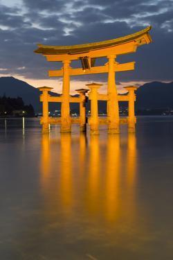 The Floating Miyajima Torii Gate of Itsukushima Shrine at Dusk by Stuart Black