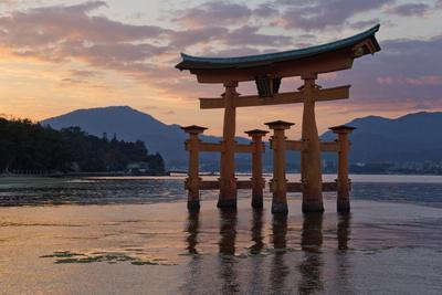 The Floating Miyajima Torii Gate of Itsukushima Shrine at Sunset