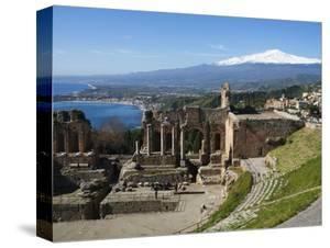 The Greek Amphitheatre and Mount Etna, Taormina, Sicily, Italy, Mediterranean, Europe by Stuart Black