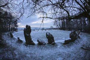The King's Men in Snow, the Rollright Stones, Near Chipping Norton by Stuart Black