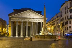The Pantheon and Piazza Della Rotonda at Night, Rome, Lazio, Italy by Stuart Black