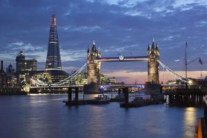 The Shard and Tower Bridge on the River Thames at Night, London, England, United Kingdom, Europe by Stuart Black
