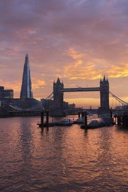 The Shard and Tower Bridge on the River Thames at Sunset, London, England, United Kingdom, Europe by Stuart Black