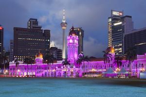 The Sultan Abdul Samad Building at Night, Kuala Lumpur, Malaysia, Southeast Asia, Asia by Stuart Black