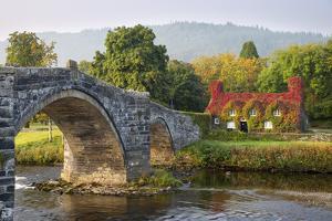 Tu Hwnt I'R Bont Tearoom and Pont Fawr (Big Bridge) in Autumn, Llanrwst, Snowdonia, Conwy, Wales by Stuart Black