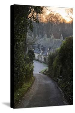 View Down Lane to Arlington Row Cotswold Stone Cottages at Dawn, Bibury, Cotswolds by Stuart Black