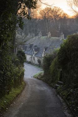 View Down Lane to Arlington Row Cotswold Stone Cottages at Dawn, Bibury, Cotswolds by Stuart Black