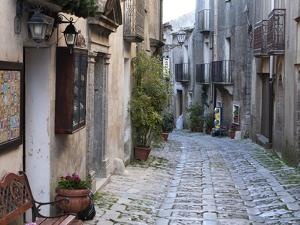 View Down Narrow Cobbled Street, Erice, Sicily, Italy, Europe by Stuart Black
