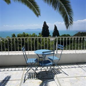 View over Bay of Tunis from Terrace of Dar Said Hotel, Sidi Bou Said, Tunisia, North Africa, Africa by Stuart Black