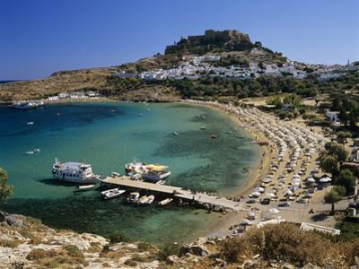 View over Beach and Castle, Lindos, Rhodes Island, Dodecanese Islands, Greek Islands, Greece