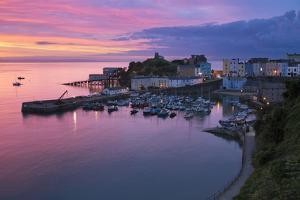 View over Harbour and Castle at Dawn, Tenby, Carmarthen Bay, Pembrokeshire, Wales, UK by Stuart Black