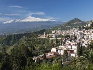 View over Taormina and Mount Etna, Taormina, Sicily, Italy, Europe by Stuart Black