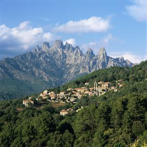 View over Village and Bavella Mountains, Zonza, South Corsica, Corsica, France, Europe by Stuart Black