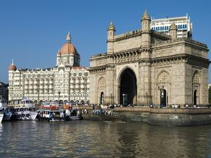 Waterfront with Taj Mahal Palace and Tower Hotel and Gateway of India, Mumbai (Bombay), India by Stuart Black