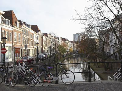 Looking Along the Catharijnsingel, Bicycles Stand on a Bridge over a Canal in Utrecht, Utrecht Prov