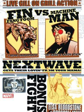 Nextwave No.2 Cover: Fin Fang Foom and Machine Man by Stuart Immonen