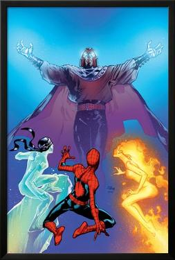Ultimate Spider-Man No.119 Cover: Spider-Man, Firestar, Iceman and Magneto by Stuart Immonen