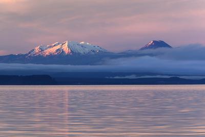 Lake Taupo with Mount Ruapehu and Mount Ngauruhoe at Dawn