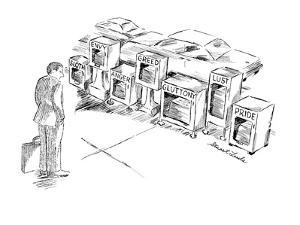 """Businessman looking at  street vending boxes for newspapers marked """"Sloth,… - New Yorker Cartoon by Stuart Leeds"""