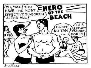 Hero of the Beach - New Yorker Cartoon by Stuart Leeds