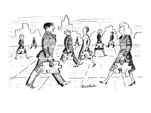 Men and women walk down street with briefcases that are in the shape of ji… - New Yorker Cartoon by Stuart Leeds