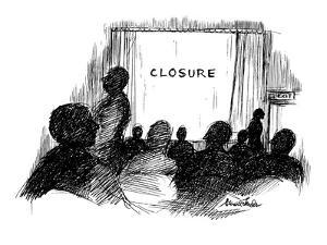 People leaving movie theatre, Instead of 'the end' it says 'closure.' - New Yorker Cartoon by Stuart Leeds