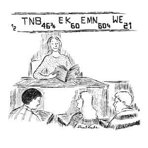 Schoolteacher sits in front of class of teenagers while stock market quote… - New Yorker Cartoon by Stuart Leeds