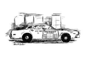 Sign on taxi cab door reads; Useful Information Cab Company, andlists meas… - New Yorker Cartoon by Stuart Leeds