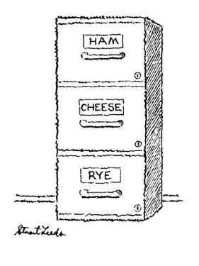 """Three filing cabinet drawers, one marked """"Ham"""" the other """"Cheese"""" and the … - New Yorker Cartoon by Stuart Leeds"""