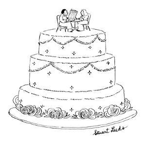 Wedding cake with man and woman sitting on top.  The man appears unshaven … - New Yorker Cartoon by Stuart Leeds
