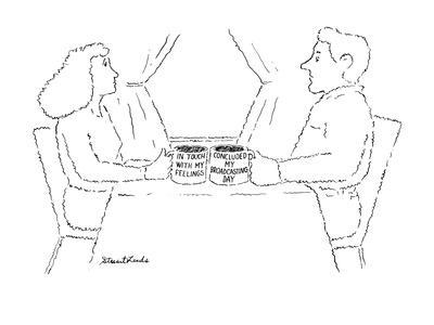 """Woman and man each with a mug, the woman's says """"In touch with my feelings? - New Yorker Cartoon"""