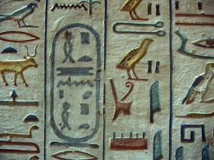 Hieroglyphic Symbols at the Tomb of Amon-her-Khopechef, Egypt by Stuart Westmoreland