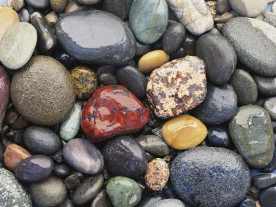 Wet Pebbles, Ruby Beach, Olympic National Park, Washington, Usa Coast