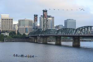 Hawthorne Bridge, Willamette River, southeast of downtown Portland, Oregon, USA. by Stuart Westmorland
