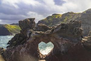 Heart-shaped opening near Nakalele Blowhole, northern tip of Maui, Hawaii by Stuart Westmorland