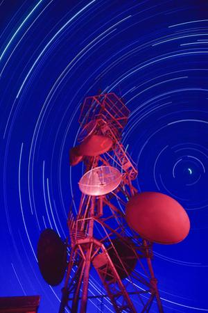 Long-exposure star trails behind a communications tower, Steptoe Butte, Washington State by Stuart Westmorland