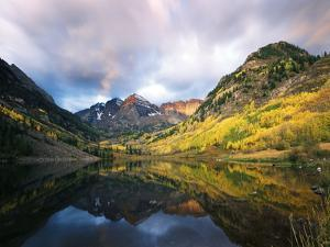 Maroon Lake, View of Autumn Aspens, White River National Forest, Colorado, USA by Stuart Westmorland