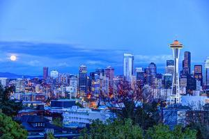 Moon Rising Near Seattle Skyline Viewed from Kerry Park, Washington by Stuart Westmorland